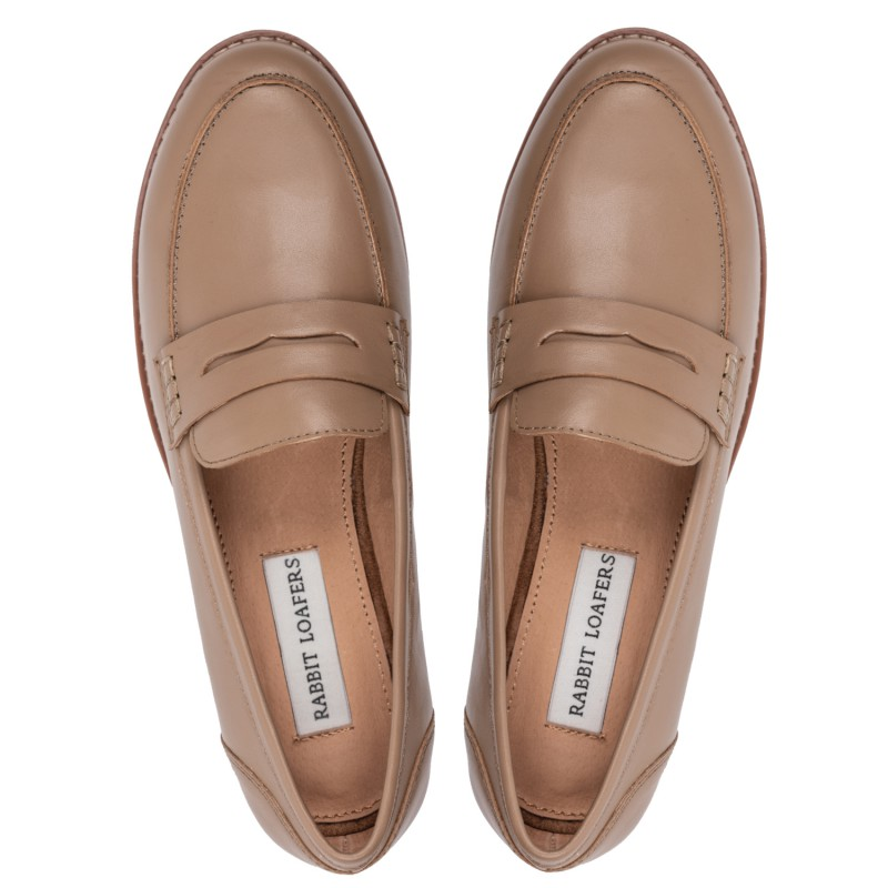 "RABBIT LOAFERS - SHOP ONLINE WOMAN'S LOAFERS, color ""SPRING BROWN"" RLW-110-006"