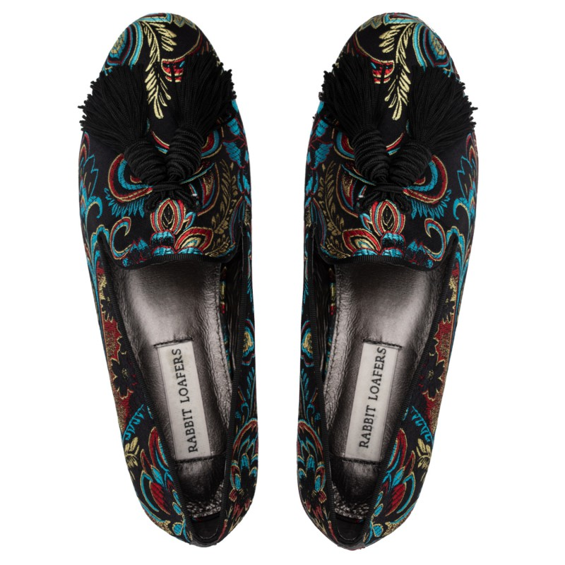 "RABBIT LOAFERS - SHOP ONLINE WOMAN'S LOAFERS, color ""TASSEL BLACK"" RLW-110-041"