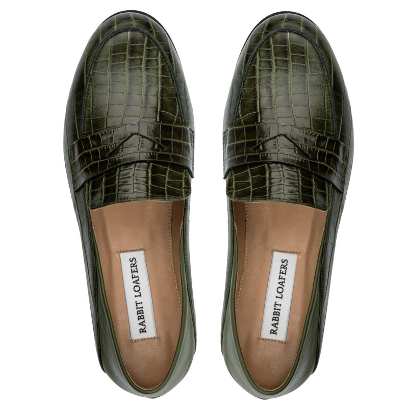 """RABBIT LOAFERS - SHOP ONLINE WOMAN'S LOAFERS, color """"DZINTARI green"""" RLW-110-998"""