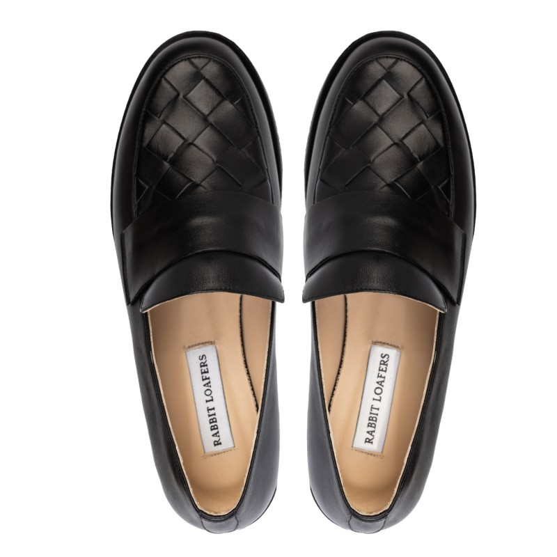 "RABBIT LOAFERS - SHOP ONLINE WOMAN""S LOAFERS ""LADY BLACK"" RLW-109-008"