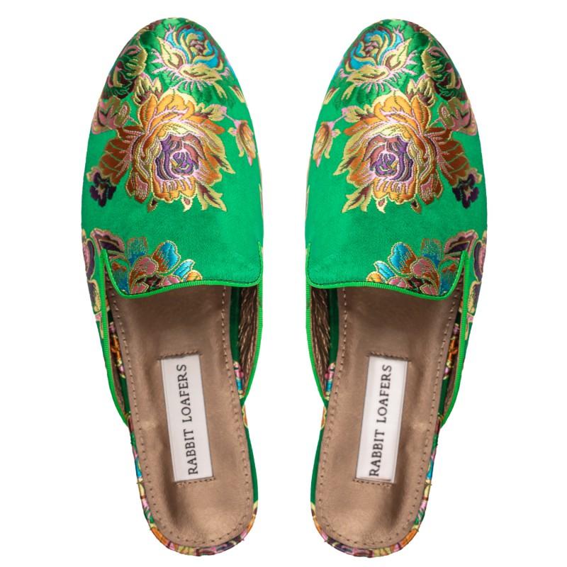 "RABBIT LOAFERS  - Онлайн магазин женской и мужской обуви МЮЛИ ЖЕНСКИЕ ""GARDEN GREEN"" RLW-109-558"